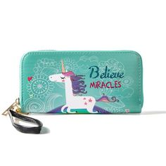 Multifunctional Unicorn Women's Wallet Leather Purse, Card Holder, Zipper Phone Bag for iPhone, Samsung - 2