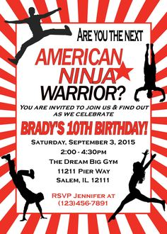 American Ninja Warrior Invitation, American Ninja Warrior Birthday, American Ninja Warrior Party  Looking for an American Ninja Warrior Invitation?  Simply provide me with the wording and I will email you back the ready to print file within 12 hours!