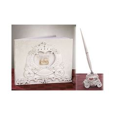 Fairytale Wedding Coach Design Wedding Guest Book and Pen Set Guest Signature  $34.00