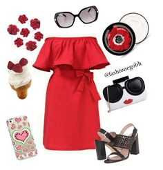 """""""red"""" by lightbird on Polyvore featuring Alice + Olivia, Casetify, Kate Spade, Artland and Burberry"""