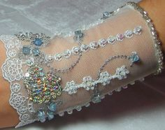 OOAK Hand Beaded Lace Cuff in Ice Blue, Silver & White