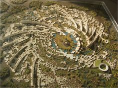 The spiraling city view of Auroville in India. The spiraling city view of Auroville in India. Landscape Architecture, Landscape Design, Architecture Board, Organic Architecture, Landscape Art, Auroville India, India Travel Guide, Master Plan, Urban Planning