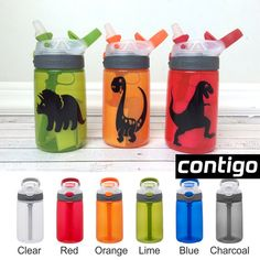 Contigo Water Bottle for Kids Dinosaur by ItsyBitsyWear on Etsy - Super cute personalized water bottles for kids to bring to school