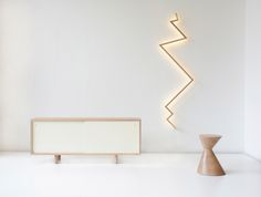 light, sideboard and stool