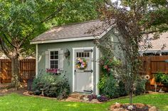 We'll build the super cute shed, you finish out the interior the way you want it. Customize your paint colors, window and door layout, and more. Painted Garden Sheds, Painted Shed, Garden Shed Diy, Garden Nook, Garden Ideas, Backyard Storage Sheds, Backyard Sheds, Outdoor Sheds, Shed Decor