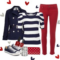 Navy and White Shirt + Red Jeans + Navy Converse + Red Purse = Nice and Comfy Casual Outfit Fashion Mode, Look Fashion, Autumn Fashion, Womens Fashion, 1950s Fashion, Vintage Fashion, Mode Outfits, Fashion Outfits, Fashion Scarves