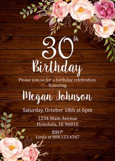50th birthday invitation for women flower water color 50th and 40th birthday invitation for women forty and fabulous birthday invitation floral birthday invitation printable invitation a31 stopboris Image collections