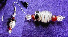 Ohrhänger Ankerhaken, ArtNr.: 30/3/3/5/60  Metall silberfarben, rose Achat in Metallkäfig, rote kleine Achate, Strassrondelle und je 2 Swarovski  14 €