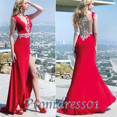 2015 sexy vneck beaded slit red chiffon lace long prom dress with sequins, ball gown, evening dress, bridal dress #promdress #wedding