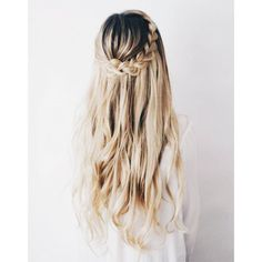9 5-Minute Hairstyles for Long Hair ❤ liked on Polyvore featuring beauty products, haircare, hair styling tools, hair, beauty and filler