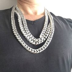 Heavy Silver Miami Cuban Links Necklace Chains Side by Side
