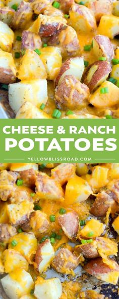 Potatoes covered in cheese, it doesn't get much better than that. TheseEasy Cheese and Ranch Potatoes are the perfect side dish for any meal and trust me you are going to love them! Side Dishes For Ribs, Cookout Side Dishes, Side Dishes For Chicken, Dinner Side Dishes, Potato Side Dishes, Side Dishes Easy, Sides For Ribs, Main Dishes, Side Dish Recipes