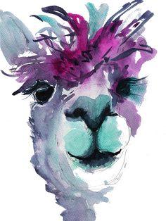 Meet 'Jose' The Alpaca. Jose is a fun, vibrant art print of my original watercolour. Jose brings fun and . Alpacas, Lama Animal, Alpaca Drawing, Llama Decor, Llama Arts, Alpaca Gifts, Llama Print, Animal Paintings, Face Paintings