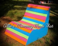Custom Designed and Hand Painted Pool and Patio Bench by Makenzie Kate - Allies Mommy Made That! Find Makenzie Kate on facebook, add as a friend & follow for off the wall woodworking creations!