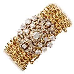 Rare Antique Russian Diamond Bracelet   From a unique collection of vintage link bracelets at https://www.1stdibs.com/jewelry/bracelets/link-bracelets/
