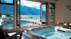 Blanket Bay Lodge, Glenorchy, New Zealand. Our friends at Blanket Bay Lodge know the best places to put hot tubs Future House, My House, Dream Bathrooms, Beautiful Bathrooms, Luxury Bathrooms, Romantic Bathrooms, Luxury Bathtub, Interior Exterior, Interior Design