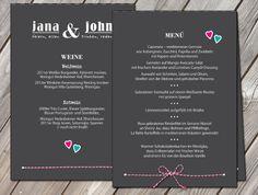 Einladungskarten - Menü Aufsteller Hochzeit - ein Designerstück von zelka bei DaWanda