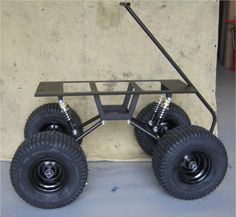 Our rolling chassis package which contains everything but the wagon steel pan or small platform up to long. Includes: Swing-Arm suspension kit (small frame) and 4 of the x turf tires with black steel rims. Go Kart, Karting, Vw T1 Samba, Black Steel Wheels, Radio Flyer Wagons, Custom Radio Flyer Wagon, Kids Wagon, Beach Cart, Welding Cart