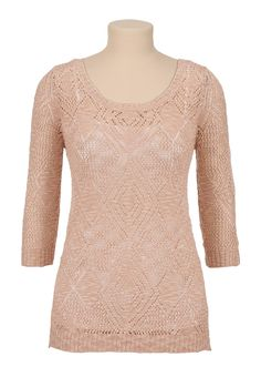 3/4 sleeve patterned pointelle stitch sweater @maurices #maurices #spon
