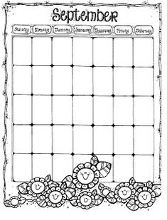 Connie's File Cabinet: MONTHLY BLANK CALENDAR PAGES FOR A YEAR Kindergarten Calendar, Preschool Calendar, Classroom Calendar, Classroom Freebies, Preschool Math, Kindergarten Activities, School Classroom, Preschool Ideas, September Calendar