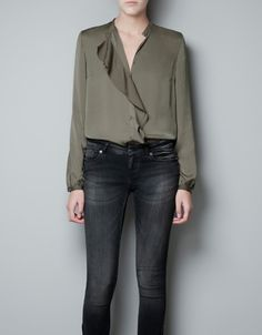 BLOUSE WITH FRONT FRILL - Shirts - Woman - ZARA United States