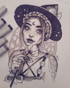 """1,228 Likes, 35 Comments - Amanda. (@amandajtoner) on Instagram: """"I can't stop drawing witches haven't got any new tattoos to share with you guys as i've been on…"""""""
