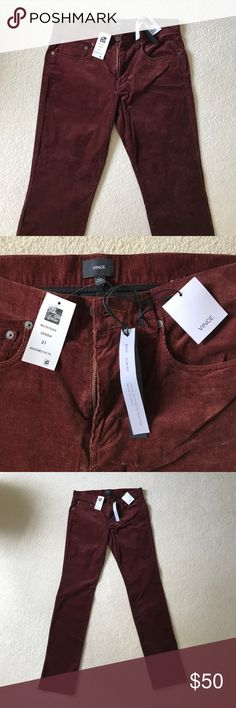"""Men's Vince Soho Slim Fit Corduroys, """"Bark"""" color Brand new, never worn, no damage, still have tags. I received these as a gift and they do not fit. They retail for $220, and are currently on sale at the Vince website for $90 Vince Pants Corduroy"""