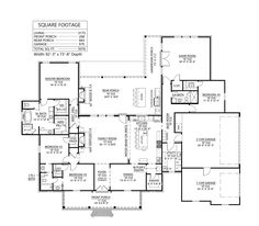 House Plan 41425 - French Country Style with 3175 Sq Ft, 4 Bed, 3 Bath