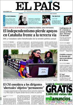 Los Titulares y Portadas de Noticias Destacadas Españolas del 3 de Noviembre de 2013 del Diario El País ¿Que le pareció esta Portada de este Diario Español?