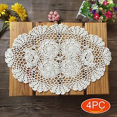 ⚜️ Add charm to your home with Elesa Miracle 12 X 18 Inch Handmade Beige Oval Crochet Cotton Lace Table Placemats Doilies Set, Oval, Beige from Crochet Table Mat, Crochet Placemats, Free Crochet Doily Patterns, Free Pattern, Lace Doilies, Crochet Doilies, Dressing Table Mats, Cotton Crochet, Hand Crochet