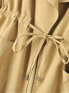 Drawstring Pockets Solid Color Turn Down Collar Trench Jacket Sewing Collars, Wedding Hair Up, Only Shirt, Sleeves Designs For Dresses, Coats For Women, Clothes For Women, Trench Jacket, Sewing Lessons, Couture Details