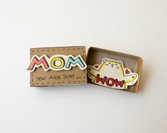 Funny Wow Mom Card This listing is for one matchbox. This is a great alternative to a Mothers day card. Surprise your loved ones with a cute private message hidden in these beautifully decorated matchboxes! Each item is hand made from a real matchbox. The designs are hand drawn, printed on paper and then hand colored in to give each individual matchbox that special personalized touch. Weve found that these matchboxes are the perfect way to brighten someones day :) Dimensions: 2 1/16…