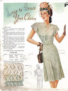 """Mid 1940's Maisonette Salesman's sample card.  Cord lace dress with keyhole neckline, decorated with two """"beautiful pearlized buttons with an all over lacey pattern; and in colors to match the lace"""".  Came in white, beige, and aqua."""