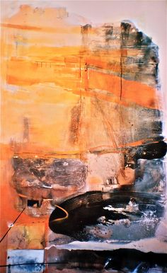 Kakadu landscape titled Presence of Rock, 2003, 240x180 cm, mixed media and oil on canvas from series titled An Archaeology of Landscape.