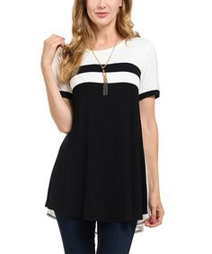 Look what I found on #zulily! Black & White Colorblock Tunic - Plus #zulilyfinds