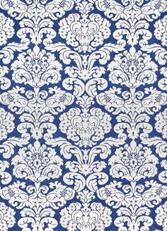Trelawny Damask Fabric A bold printed fabric with contemporary damask motif, shown in navy blue on an off white ground.