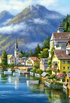 Южный город Landscape Pencil Drawings, Landscape Art, Landscape Paintings, Nature Paintings, Beautiful Paintings, Beautiful Landscapes, City Art, Nature Pictures, Art Pictures