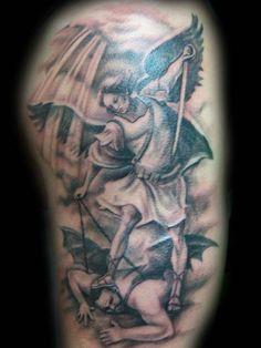Saint Michael Slaying The Devil Tattoo, St Michael The Archangel Tattoo God Tattoos, Warrior Tattoos, Tattoos For Guys, Girly Tattoos, Flower Tattoos, Devil Tattoo, Angel Tattoo Men, Angels Tattoo, Cat Tattoo