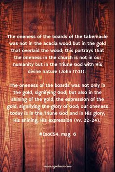 The oneness of the boards of the tabernacle was not in the acacia wood but in the gold that overlaid the wood; this portrays that the oneness in the church is not in our humanity but in the Triune God with His divine nature (John 17:21). The oneness of the boards was not only in the gold, signifying God, but also in the shining of the gold, the expression of the gold, signifying the glory of God; our oneness today is in the Triune God and in His glory, His shining, His expression (vv…