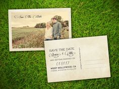 Photo Save The Date Wedding Postcard  Vintage Rustic French
