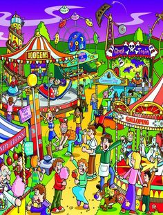 [Jumbo] Jigsaw Puzzle Painting A day at the fair Writing Pictures, Picture Writing Prompts, Dash Robot, Wheres Wally, Co Teaching, Picture Composition, Hidden Pictures, Silly Pictures, Isometric Art