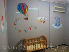 Ζωγραφική στον τοίχο βρεφικού δωματίου με ζωάκια