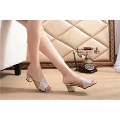 Womens Shoes Sandals Rhinestone Decor Net High Heels Slippers PU Leather Summer Shoes Casual Wear T1089Z