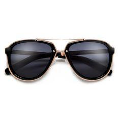 Stylish Attitude Appeal Metal Trim Modernized Aviator Sunglasses 60731626742