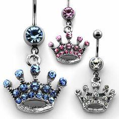 Piercing de ombligo con corona de cristales de Rodio