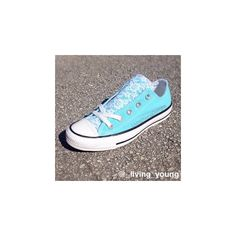 Floral Lace Converse Shoes / Tiffany Blue / Aqua / Sky Blue (£64) ❤ liked on Polyvore featuring shoes, beach shoes, converse high tops, blue shoes, flower print shoes and converse shoes