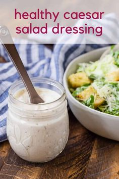 Prepare a classic Caesar salad easily with your own healthy Caesar dressing. Lower in calories than traditional Caesar dressings, you'll love how great this homemade salad dressing tastes. Healthy Caesar Dressing Recipe, Healthy Caesar Salad, Homemade Dressing Recipe, Creamy Salad Dressing, Healthy Salad Recipes, Easy Salads, Easy Meals, Classic Caesar Salad, Full Fat Yogurt