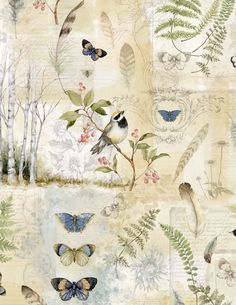 Forest Study Collage Fabric, 3023-39663-274, Birds Butterflies Botanical Fabric, Wilmington Prints by Jambearies on Etsy