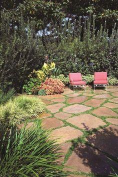 """""""Dream Team's"""" Portland Garden Garden Design Calimesa, CA Flagstone Patio, Backyard Patio, Backyard Landscaping, Stone Landscaping, Landscaping Ideas, Portland Garden, Sloped Garden, Modern Garden Design, Backyards"""