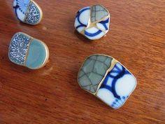 Kintsugi - broken china and sea glass. - Kintsugi – broken china and sea glass. Ceramic Jewelry, Sea Glass Jewelry, Clay Jewelry, Ceramic Art, Jewelry Crafts, Jewelry Art, Handmade Jewelry, Jewelry Design, Kids Jewelry
